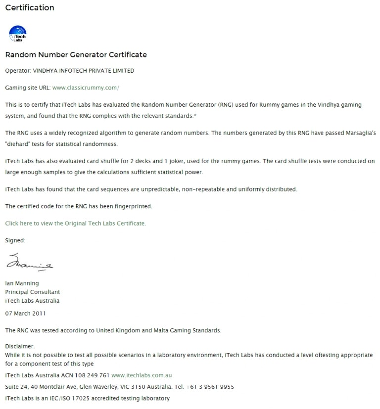 rng certification for classic rummy website