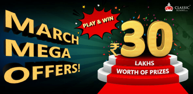 classic rummy mega march offer