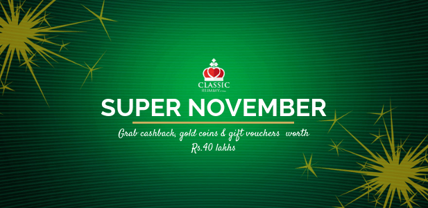 online classic rummy november month promtoions and offers