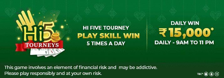 hi five online rummy tournament
